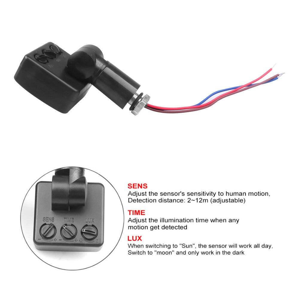10/12mm ultra-mince LED projecteur PIR détecteur de mouvement étanche extérieur 85-265V IP65 capteur de mouvement réglable PIR commutateur