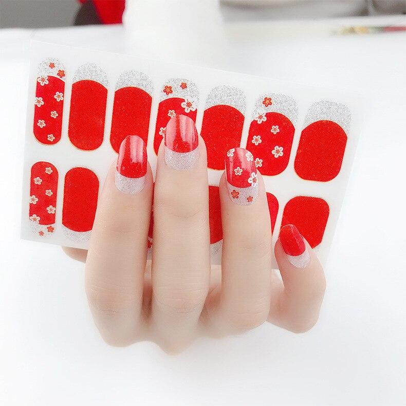 Zhengxiang 14 Stickers New Style Nail Sticker Rat Nail Sticker Waterproof Long-lasting Hipster Plum Pattern Nail Sticker