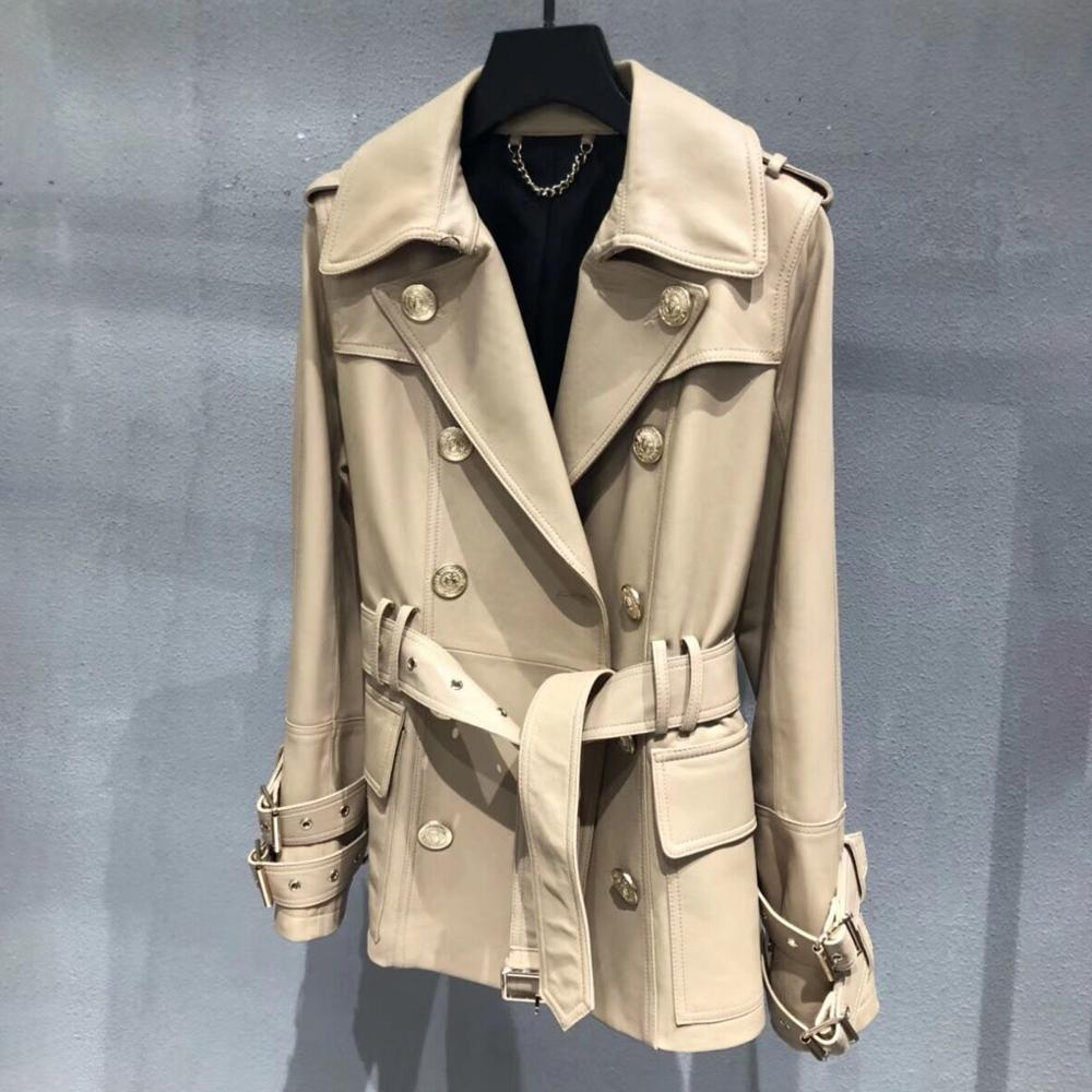 Genuine real leather jacket sheepskin short trench coat women 2020 new fashion double-breasted england style windbreaker