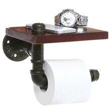 Mrosaa łazienka półki przemysłowe żelazo Retro uchwyt na papier toaletowy łazienka hotelu rolkę papieru tkanki wieszak drewniana półka