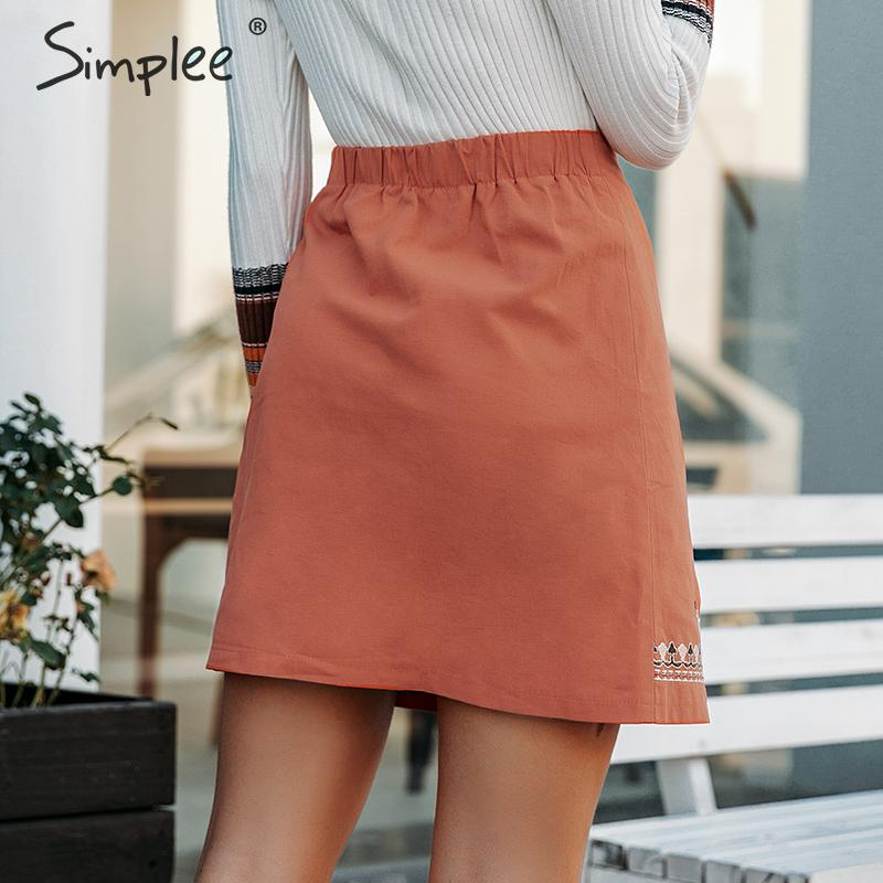 Image 4 - Simplee Enthic vintage floral embroidery women short skirt A line button female mini skirt High waist ladies bohemian skirt 2019-in Skirts from Women's Clothing