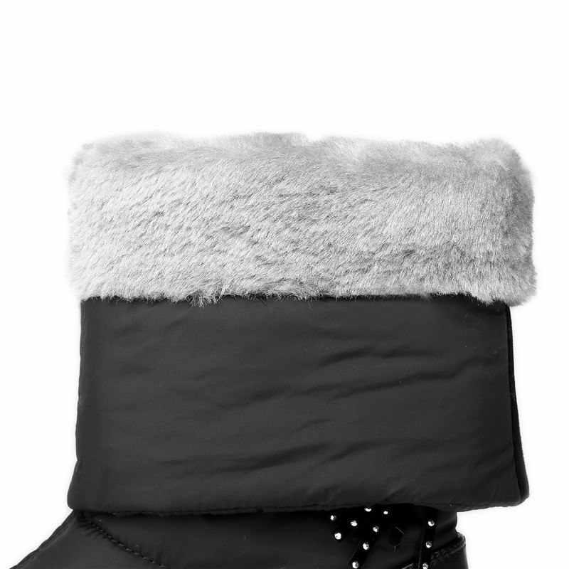 ASUMER Plus rozmiar 35-44 Snow boots kobiety kliny platformy buty pomponem jednolity kolor grube futro połowy łydki kobiety buty zimowe