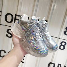 HEFLASHOR Women Sneakers Crystal Heel Platform Bling Fluorescent Holographic Dad Chunky Trainers Vulcanize Shoes