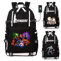 Avengers Iron Man Hero USB Port Backpack Bags Laptop School Travel Book Bags Students Casual Laptop Girls Boys Rucksack Gift