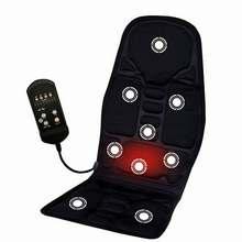 الأسود 12V سيارة كهربائية حرارية تدليك مقعد وسادة آلام الرقبة الخصر الاسترخاء الاهتزاز مدلك سادة سيارة كامل الجسم تدليك مقعد