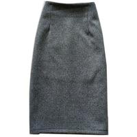 Autumn winter warm woolen skirt women high waist package hip split step pencil skirt plus size