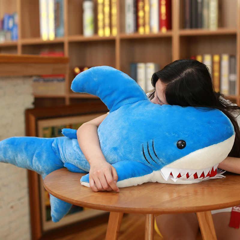 Ekonomik güzel büyük köpekbalığı yumuşak peluş oyuncak bebek doldurulmuş hayvan yastık yatak odası dekorasyon erkek ve kız
