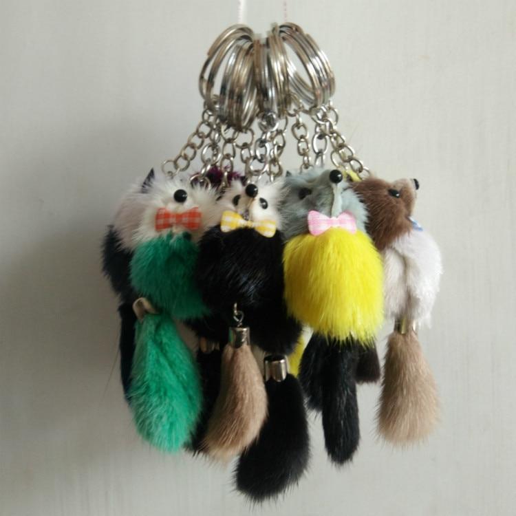 Key-Chain Pendant Plush-Doll Gift Fox Luggage Fur-Ball Mink-Fur Creative