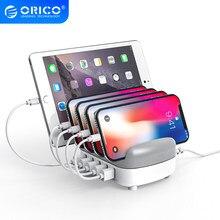 ORICO – Station de charge USB 40W, 5v, 2,4 a x 5, avec support, câble de charge gratuit, pour iphone, ipad, PC, tablette