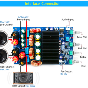 Image 5 - UNISIAN TAS5630 2.1 אודיו מגבר לוח 2X150W + 300W Digtial 2.1 ערוצים Class D גבוהה כוח מגבר עבור קולנוע ביתי מערכת