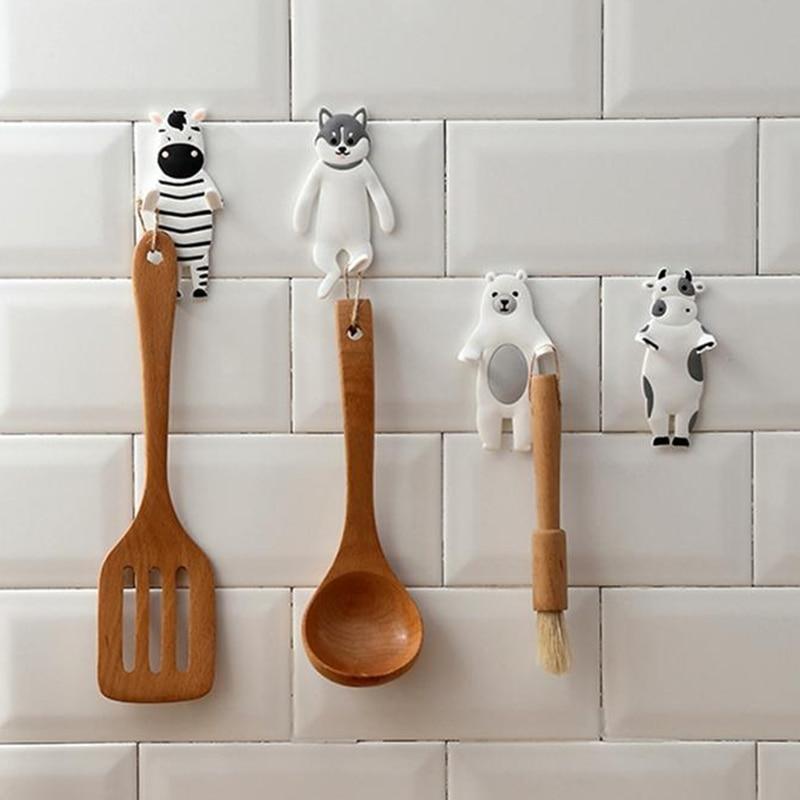 Fowecelt Wall Hanger Kitchen Bathroom Accessories Housekeeper Towel Hooks Key Holder Storage Animal Decorative Gift Child Room