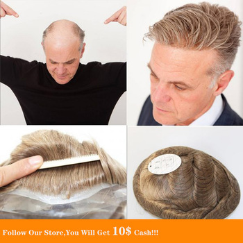 BYMC 6x8 Skin PU For Mens Malaysia Hair Honey Blonde Human Hair Toupee for Men Replacement SystemToupee 6 Inch Style bymc black mens toupee 6 inch mixed 40