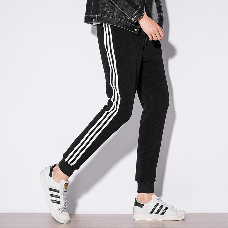 Teenager Athletic Pants Men's Korean-style Slim Fit Casual Capri Pants Students Trend Striped Pants Thin Elasticity Uniform Pant