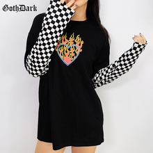 Goth Dark Checkerboard Long Sleeve Patchwork T Shirt Women Black Loose Shirts 2019 Casual Fashion Tops Ladies Tee