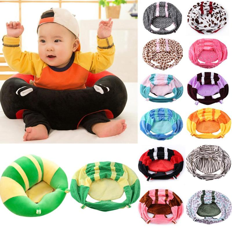 Baby Sofa Infant Support Seat Cover Baby Plush Chair Learning To Sit Comfortable Toddler Nest Puff Washable Without Filler