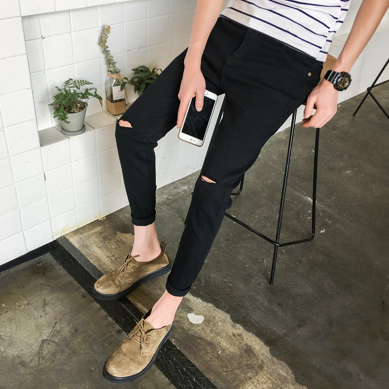 Autumn Elasticity Jeans Men's Slim Fit Men Skinny Pants Black And White With Pattern Casual Pants Men's Korean-style Trend