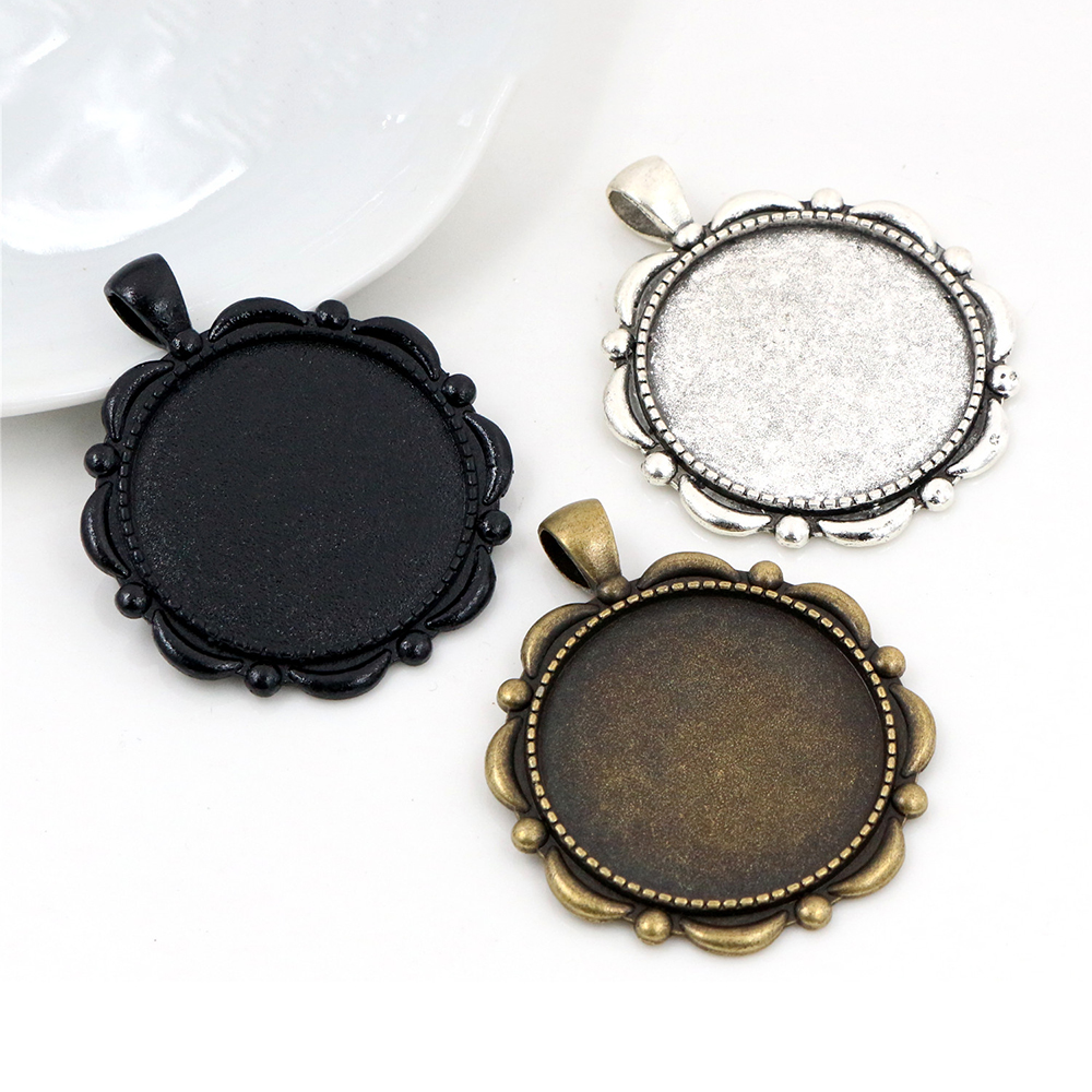 5pcs 30mm Inner Size Black And Antique Silver And Bronze Plated Classic Style Cabochon Base Setting Charms Pendant