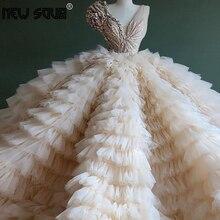 Şık tasarım kabarık bej Ruffles abiye 2020 Aibye Dubai çiçek aplikler boncuklu parti elbise balo elbise Robe De Soiree yeni
