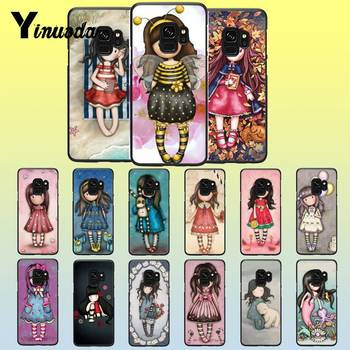 Yinuoda Cute illustration girl Black TPU Silicone PhoneCase Cover For Samsung A10 A6S A720 A9 A30/A20 A50 A10S A20S A9(2020) A70 image