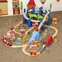 Wooden Small Train Track Circular Pier Green Garage Cargo Toy Children's Train Birthday / Holiday Gift Wooden Track