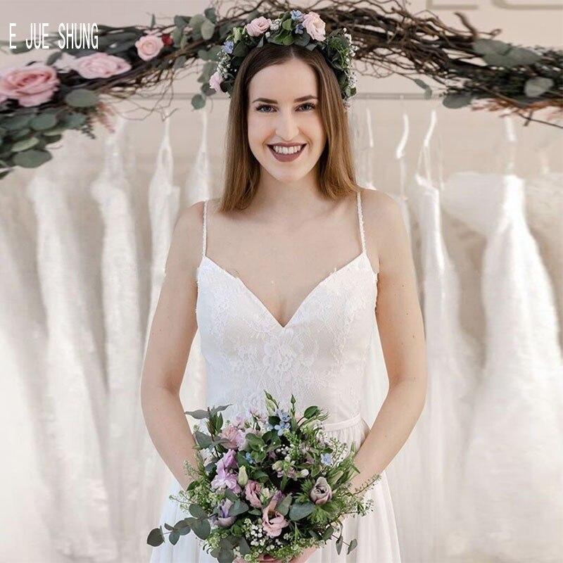 E JUE SHUNG Simple blanc imprimer robes De mariée une ligne Spaghetti bretelles en mousseline De soie plage robes De mariée à lacets dos robes De Novia - 2