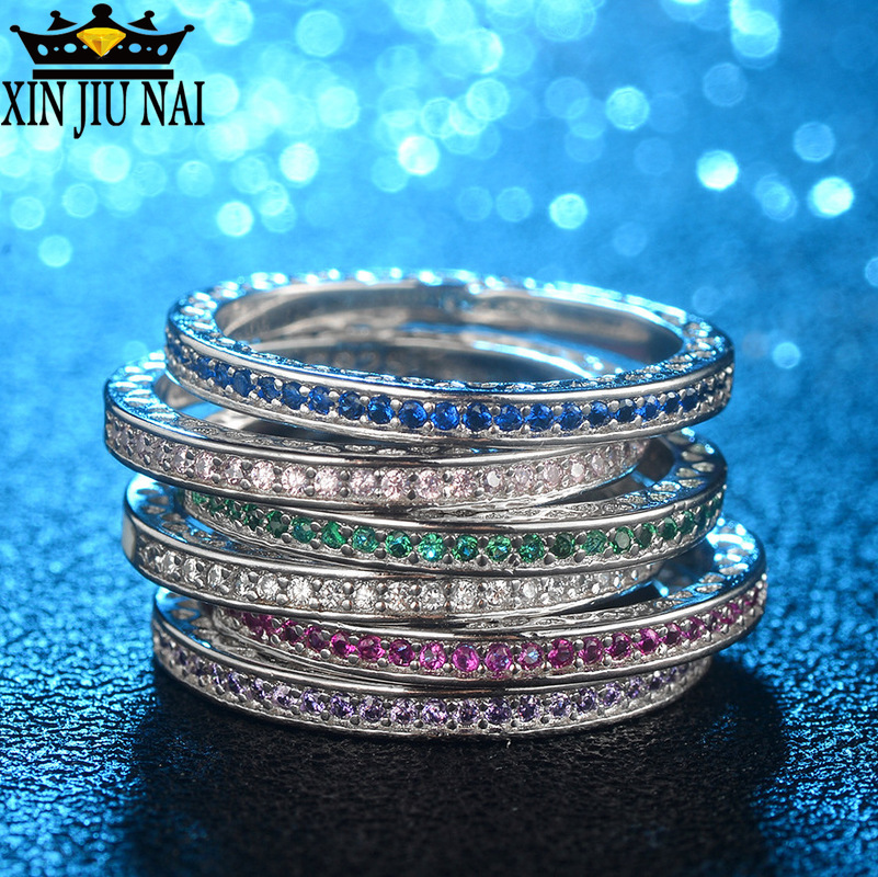 6 Colors Anniversary Ring Rhinestone Austrian Colored Crystal Cz Enamel 925 Silver Party Wedding Band Rings For Women Jewelry