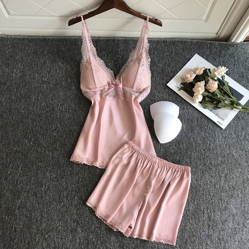 Sexy Women Pajamas With Chest Pad Satin Lace Pijamas Female 2 Piece Set Summer Homewear For Female Pyjama Soft Thin Nightwear
