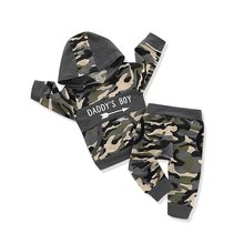 Criança do bebê infantil menino roupas definir menino do papai carta impressão camuflagem hoodies camisolas topos + camo calças conjunto de roupa d20