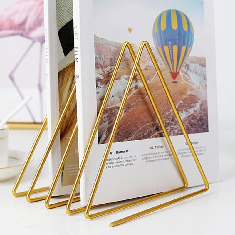 4 Grid File Triangle Storage Shelf Simple Nordic Iron Magazine Book Stand Holder Desktop Organizer Storage Accessories
