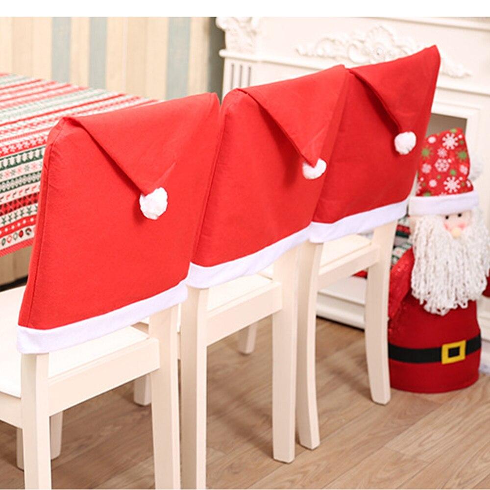 Chaise couvre Spandex joyeux noël Housse De Chaise Chaise couverture ensemble Santa Clause noël décorations chapeau pour Mariage Mariage maison