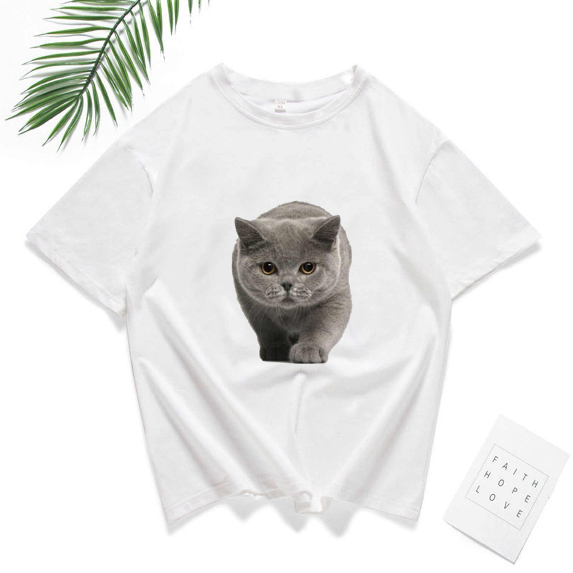 ZOGAA 3D kot śmieszne T Shirt, żeński, moda na co dzień z krótkim rękawem Tshirt Ulzzang Kawaii kobiety Streetwear Grunge Harajuku topy kobieta