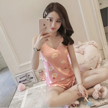 SUKVDOM pajamas set for girl with chest pad short student cute pattern two-piece suit modal homewear summer