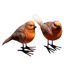 2 Pcs Garden Resin Craft Bird Figurine Statue Office Animal Ornaments Sculpture Home Decoration Accessories Bird Sculpture