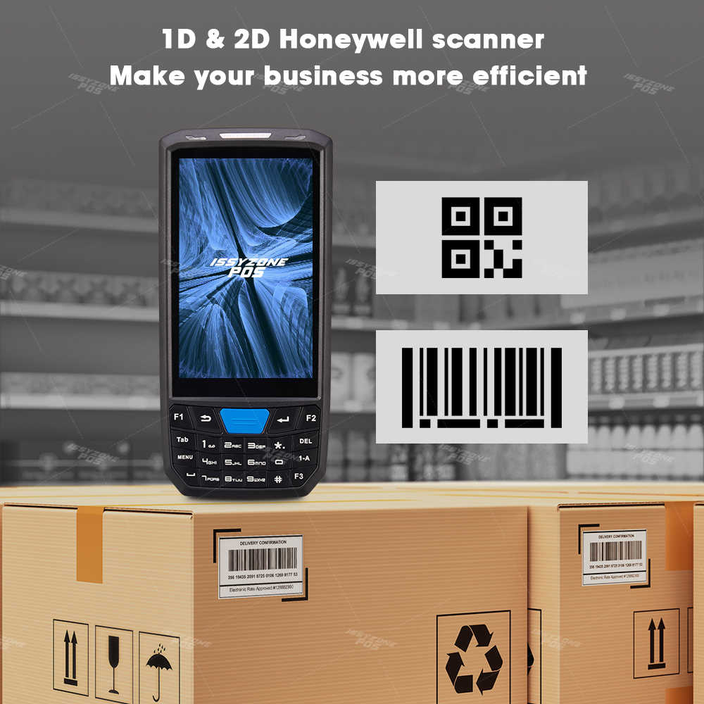 Issyzonepos Handheld Pos Terminal Android 8.1PDA 1D 2D Honeywell Barcode Scanner 4G Nfc Barcodes Reader Draagbare Data Collector