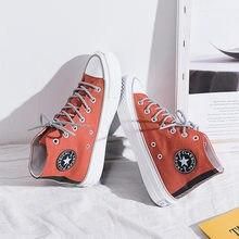Женская оранжевая парусиновая обувь с высоким берцем; Повседневная