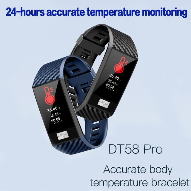 DT58 PRO Smart Watch Fitness Bracelet Heart Rate temperature monitoring Smart Sport Watch Health Monitor ip68 Waterproof