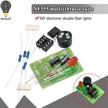 Ne555 kit multivibrador ne555p circuito de estado estacionário dupla lâmpada flash diy formação fabricante estudante laboratório