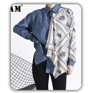 [EAM] 2020 New Spring Lapel Long Sleeve Solid Color Black Gray Split Joint Loose Big Size Jacket Women Fashion JC969 27