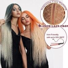 """Sihirli 38 """"inç uzun Afro Kinky düz saç örgü Ombre sentetik dantel ön peruk siyah kadınlar için isıya dayanıklı parti peruk"""