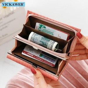 Image 5 - Vickaweb carteira feminina de couro legítimo, carteira curta de moda feminina, bolsa com fecho e zíper de jacaré