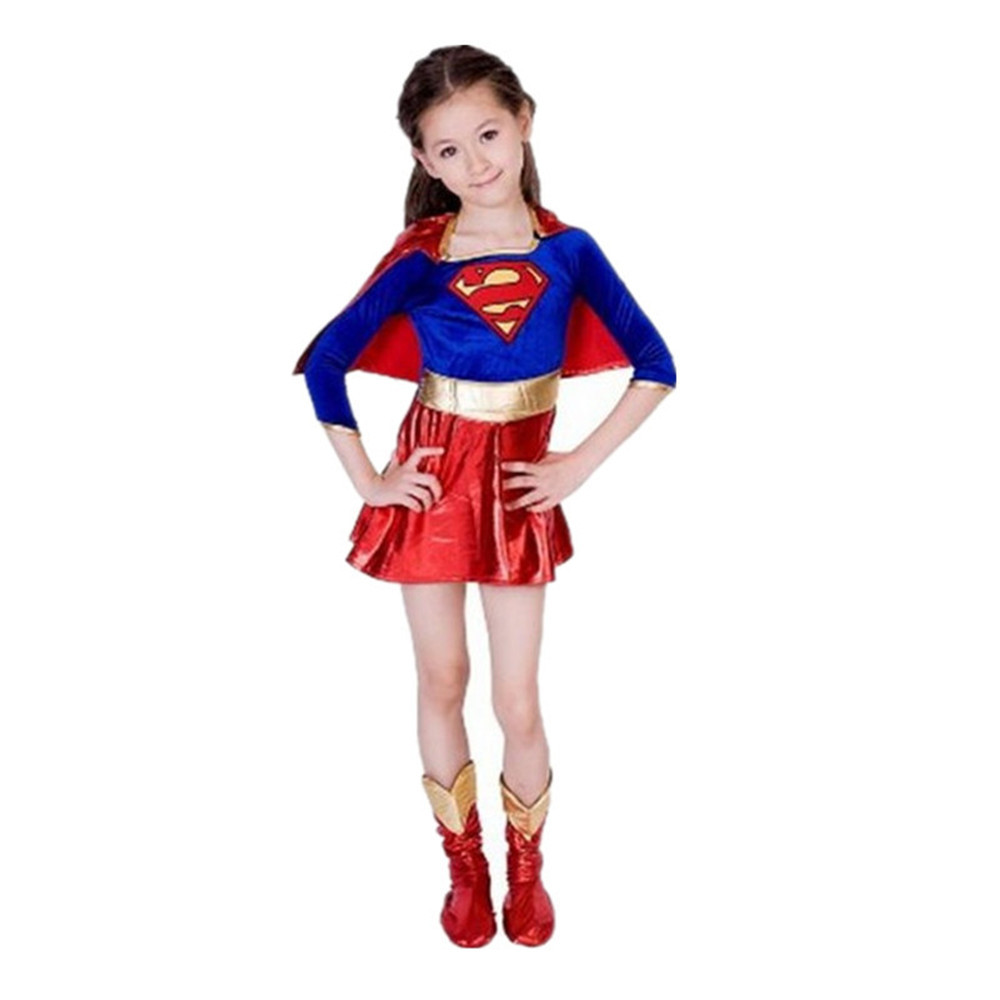 24hours Ship Halloween Supergirls Superman Cosplay Costume For Kids Child Girls  Birthday Party Fancy Dress Costume