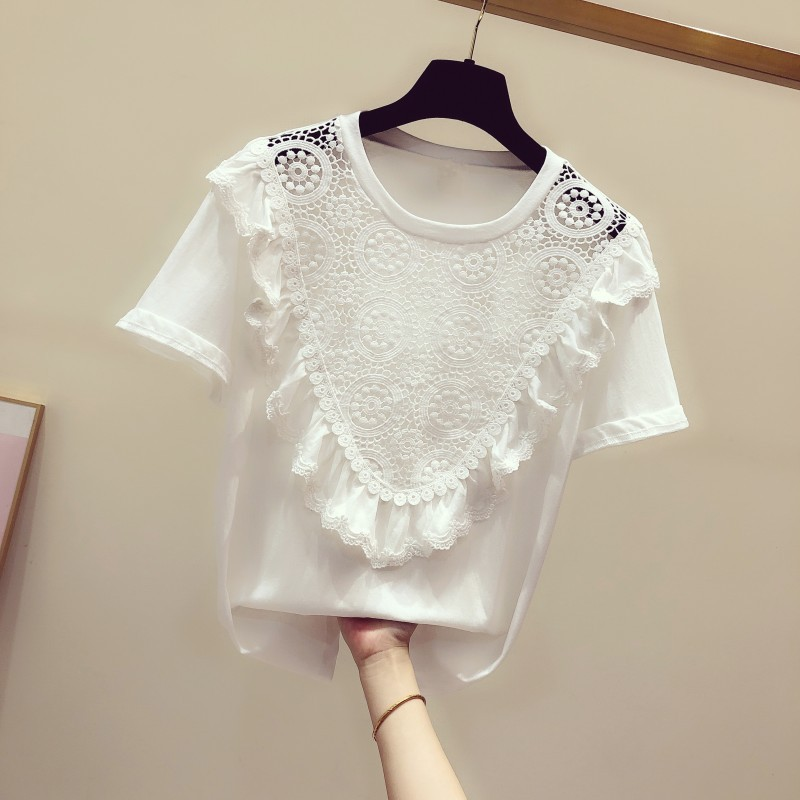 T Shirt Woman 2020 Spring And Summer New Korean-style Crochet Lace Flounced Short-sleeved Round Collar T-shirt Women's Casual T