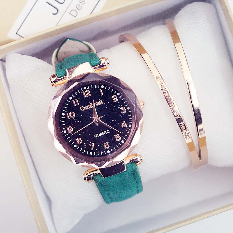 Horloges Vrouwen Starry Sky Watches Fashion Women Watches Leather Band Quartz Wristwatches Clock Casual Ladies Watches Bracelet
