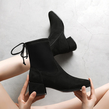 Women High Heel Boots Winter Thick Heel Shoes Woman Mid-calf Boots Zipper Keep Warm Square Heel Botas Mujer 2019 mxs25 10a mxs25 20a mxs25 30a mxs25 40a mxs25 50a smc air slide table cylinder pneumatic component mxs series have stock