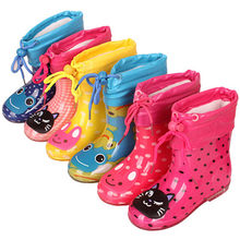 Brand kids Autumn Winter shoes Waterproof Rainboots PVC rubber Boys Girls Baby Cartoon shoes Antiskid Kids Water shoes(China)