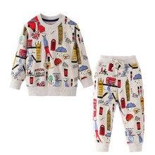 קפיצות מטרים בגדי ילדים סטי כותנה בני חליפות Cartoon מודפס חורף סתיו ילדים 2 יח\סט בנות תלבושות סוודר