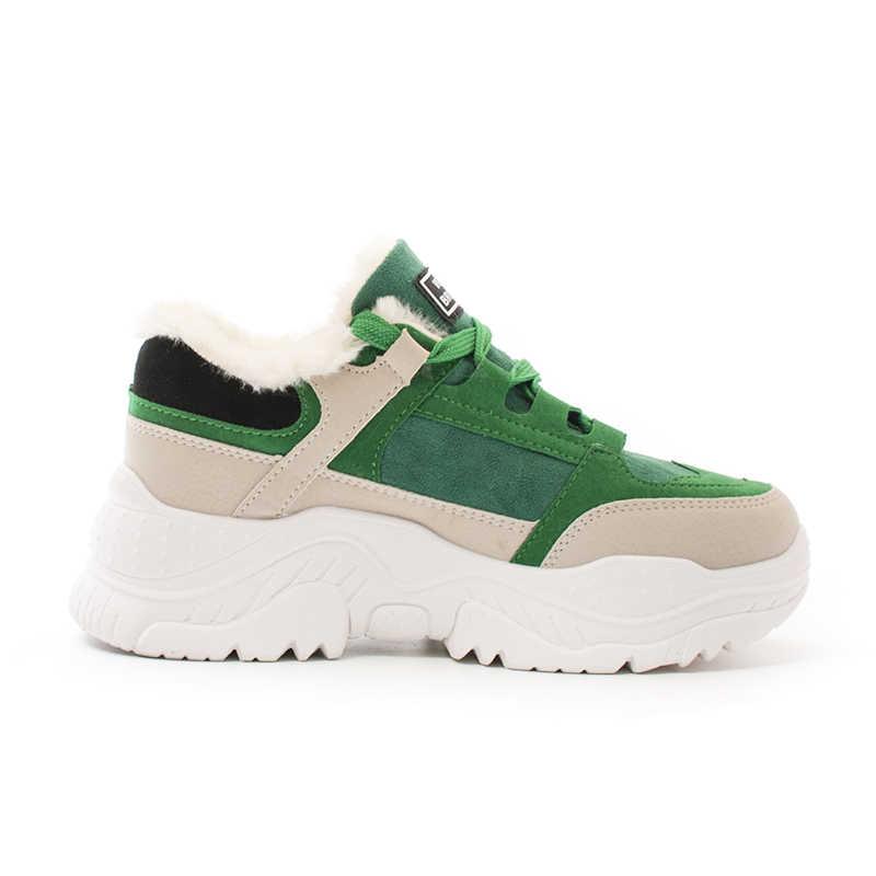 FUJIN/Брендовые женские повседневные кроссовки; сезон осень-зима; теплая Женская обувь с Плюшевым Мехом на шнуровке; Cpmfortable для женщин