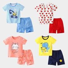 Crianças Roupas de Bebê 2 Pçs/set Algodão Verão Calções T-Shirt Todder Bebê Crianças Macio Menina Menino Miúdos Dos Desenhos Animados Bonito do Jogo Roupas 0-6Y