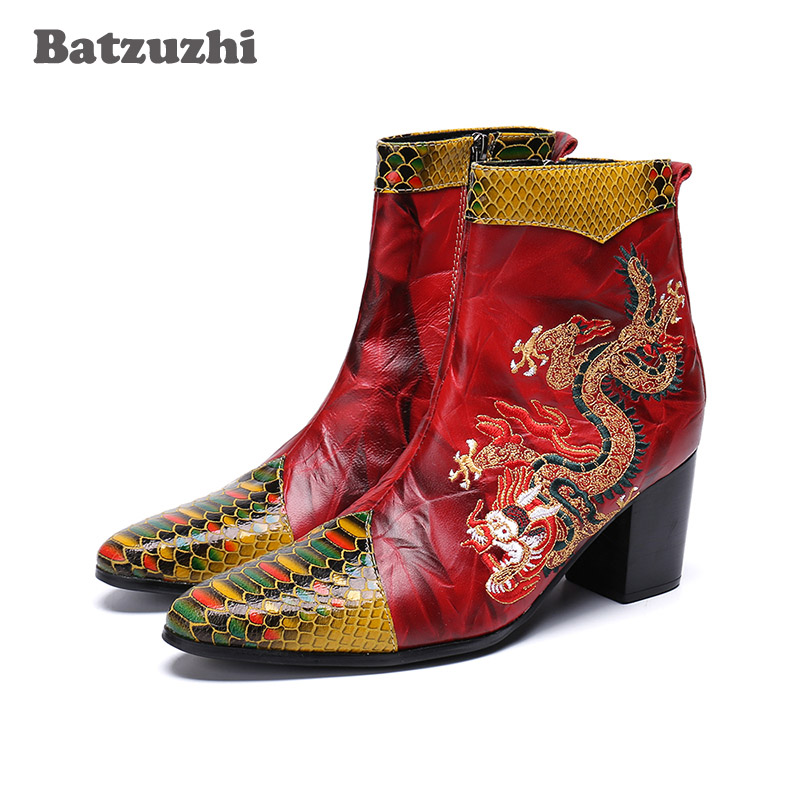 Batzuzhi Brand Luxury Boots Men Pointed Toe Botas Hombre embroidery Dragon Genuine Leather Men Boots 7CM High Heel Party Wedding