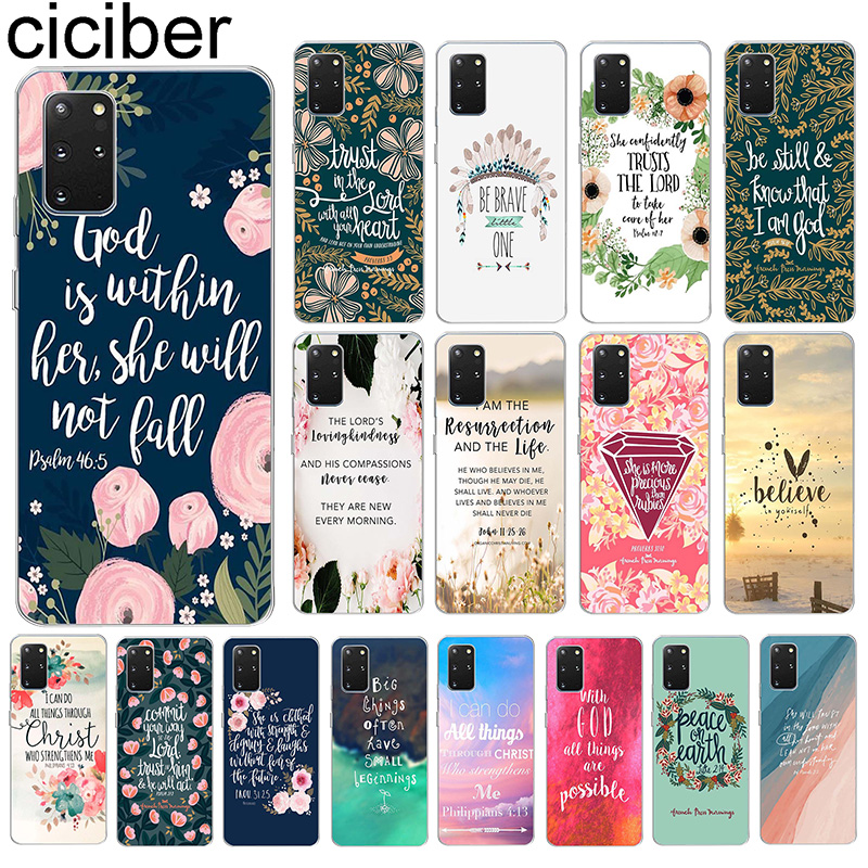 ciciber Case For <font><b>Samsung</b></font> Galaxy S20 S20+ S10 S9 S10+ S8 S7 S6 <font><b>S10e</b></font> Ultra Note 10 9 8 Edge Plus Cover Funda Silicone Bible Quotes image